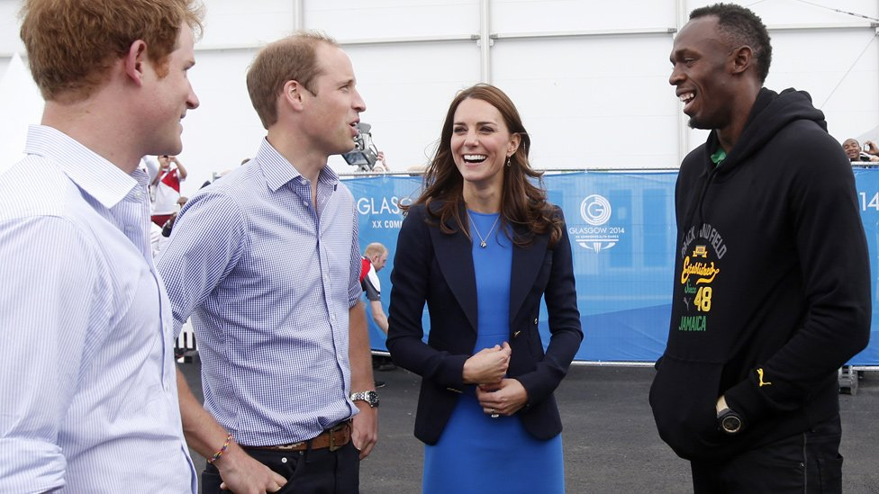 Prince Harry, Duke and Duchess of Cambridge, and Usain Bolt
