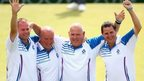 Scotland's Paul Foster, David Peacock, Alex Marshall and Neil Speirs salute the crowd at Kelvingrove