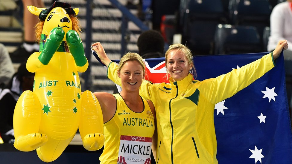 Team Australia's Kim Mickle and Kelsey-Lee Roberts