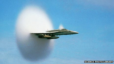 American F/A-18 Hornet breaks the sound barrier over the Pacific Ocean