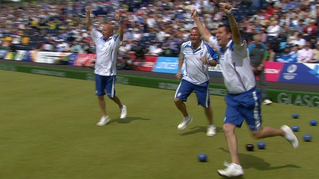 David Peacock, Paul Foster and Neil Speirs celebrate during the men's four final