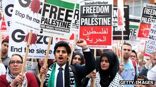 protest in london outside israel embassy