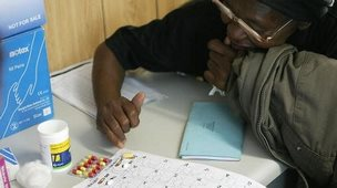 A patient receiving ARVs in South Africa - 2008
