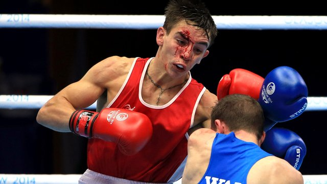 Michael Conlan in action against Sean McGoldrick of Wales