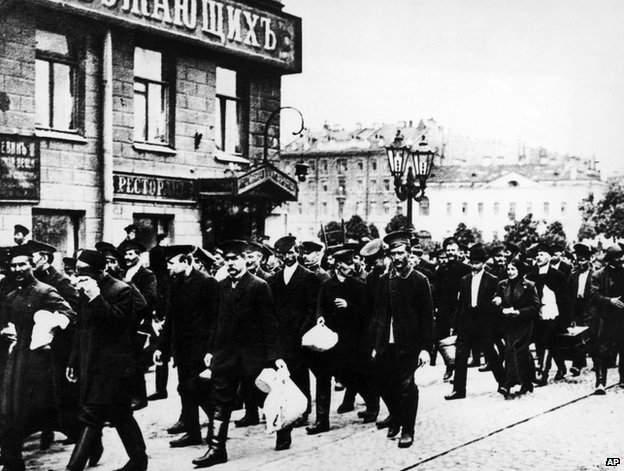 Russian reservists in St Petersburg, 8 August 1914