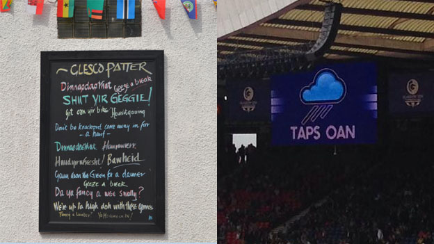 Glasgow Patter and Taps Oan signs