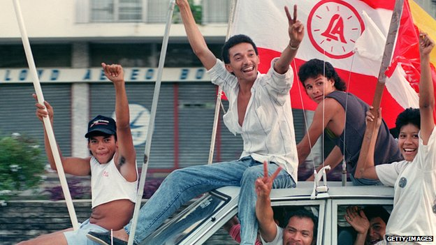 Panamanians celebrate the news that Manuel Norieg's rule has ended