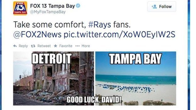 An image tweeted by Fox 13 Tampa Bay comparing Detroit and Tampa Bay