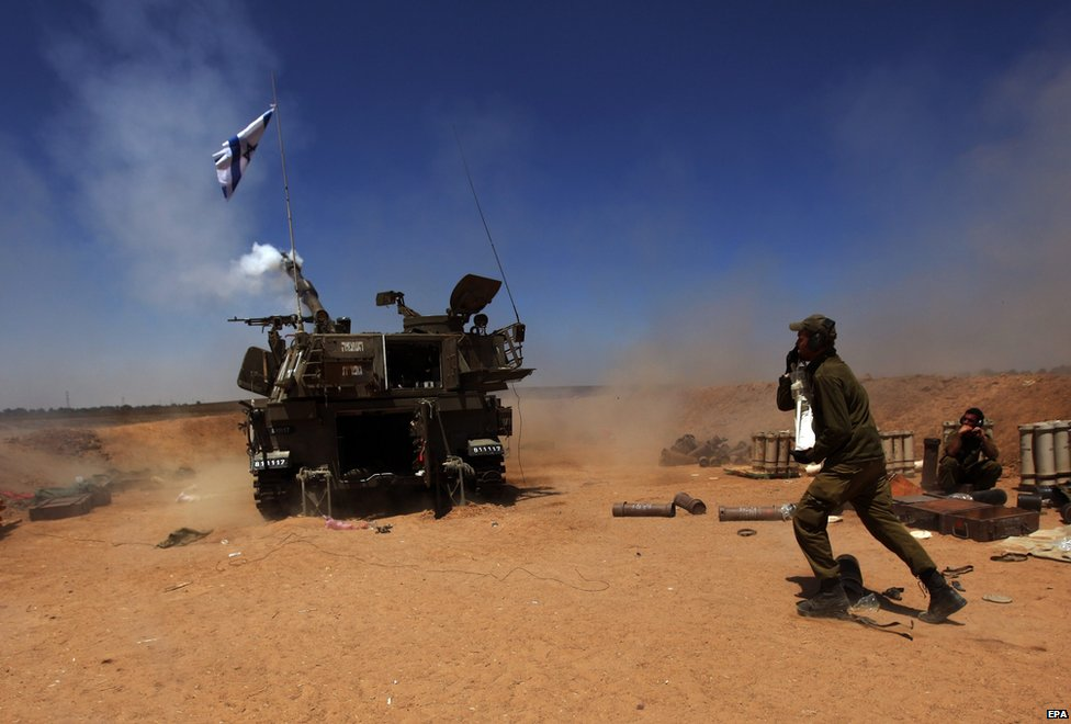 Israeli artillery shelling toward targets in the Gaza Strip form at an unspecified location next to the Israeli Gaza Strip border