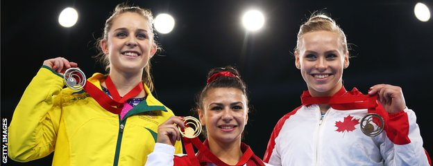 L-R Lauren Mitchell (Aus), Claudia Fragapane (Eng) and Ellie Black (Can)