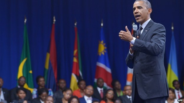 US President Barack Obama speaks during a town hall meeting at the Summit of the Washington Fellowship for the Young African Leaders Initiative (Yali) in Washington DC on 28 July 2014