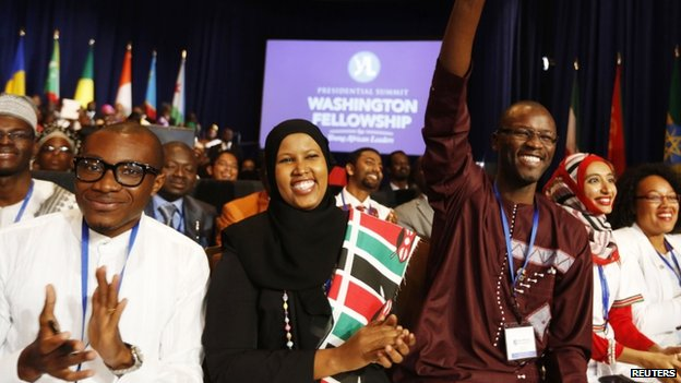 Participants cheer as US President Barack Obama participates at the Summit of the Washington Fellowship for Young African Leaders at the Omni Shoreham Hotel in Washington, 28 July 2014