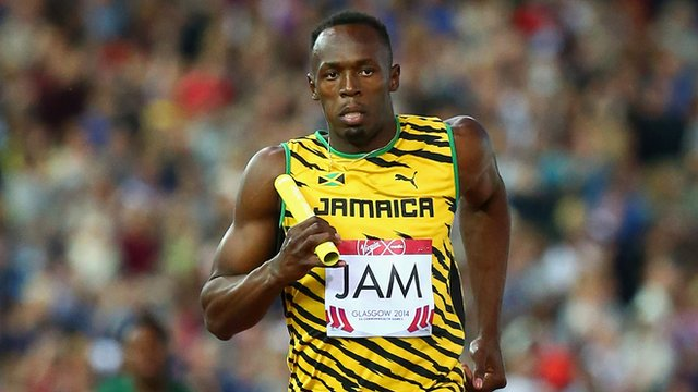 Jamaica's Usain Bolt in the men's 4x100m heat