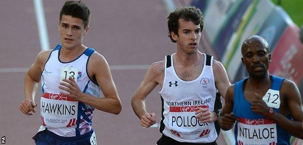 Scotland's Callum Hawkins (left) and Northern Ireland's Paul Pollock in the men's 10,000m final