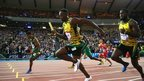 Usain Bolt competes in the Men