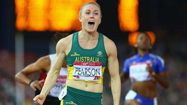 Australia's Sally Pearson wins the 100m hurdles