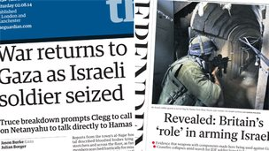 Composite image of Guardian and Independent front pages