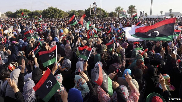 A rally in Benghazi on August 1
