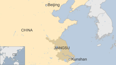 Map of China, showing the capital Beijing and the city of Kunshan in Jiangsu province