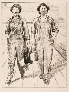 A.S. Hartrick, On the Railways Engine and Carriage Cleaners, Women's Work portfolio, Amgueddfa Cymru - National Museum Wales