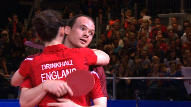 Joanna and Paul Drinkhall embrace after winning gold at the 2014 Commonwealth Games in Glasgow