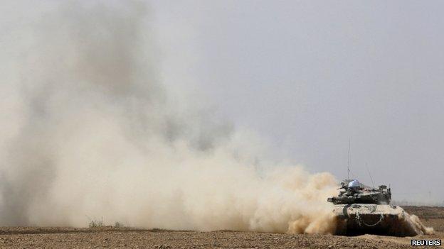 Israeli tank drives near border with Gaza