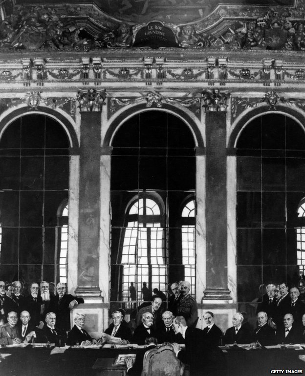 The signing of the Treaty of Versailles, 28 June 1919