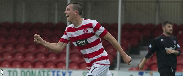 Louis Longridge celebrates after scoring for Hamilton Academical against Arbroath
