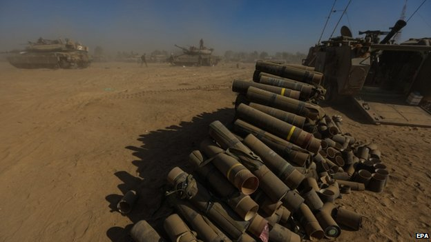 Empty mortar shells near the Israel-Gaza border - 2 August