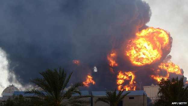 A petrol depot set ablaze in Tripoli