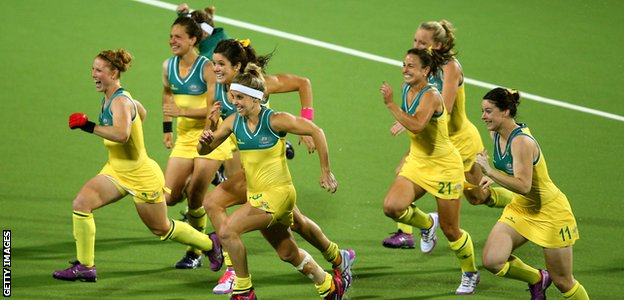 Australia celebrate beating England