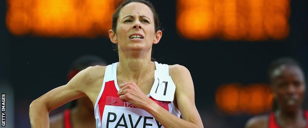 Jo Pavey in the 5,000m