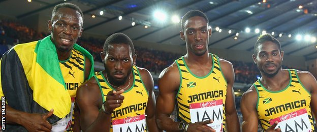 Usain Bolt, Jason Livermore, Kemar Bailey-Cole and Nickel Ashmeade  of Jamaica