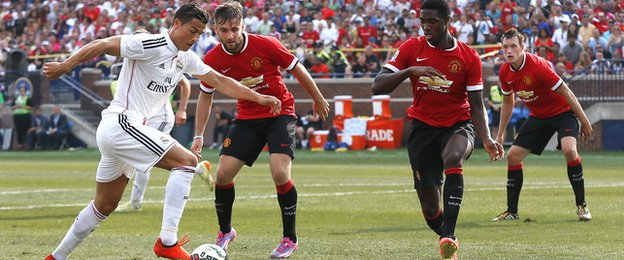 Cristiano Ronaldo in action for Real Madrid against Manchester United