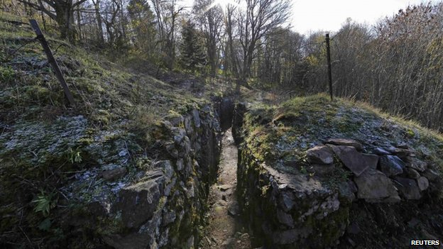 View of a trench at the Hartmannswillerkopf battle site