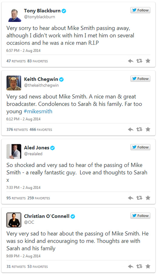 Mike Smith Twitter tributes