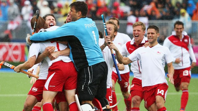 England men's hockey team celebrate bronze at the Commonwealth Games