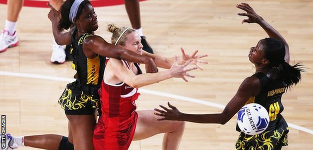 Jo Harten takes on the Jamaica defence