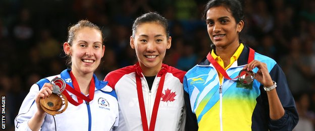 The medallists in the women's singles