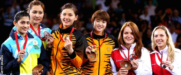 The medallists in the women's doubles