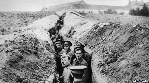 WW1 soldiers in the trenches on 28th October 1914