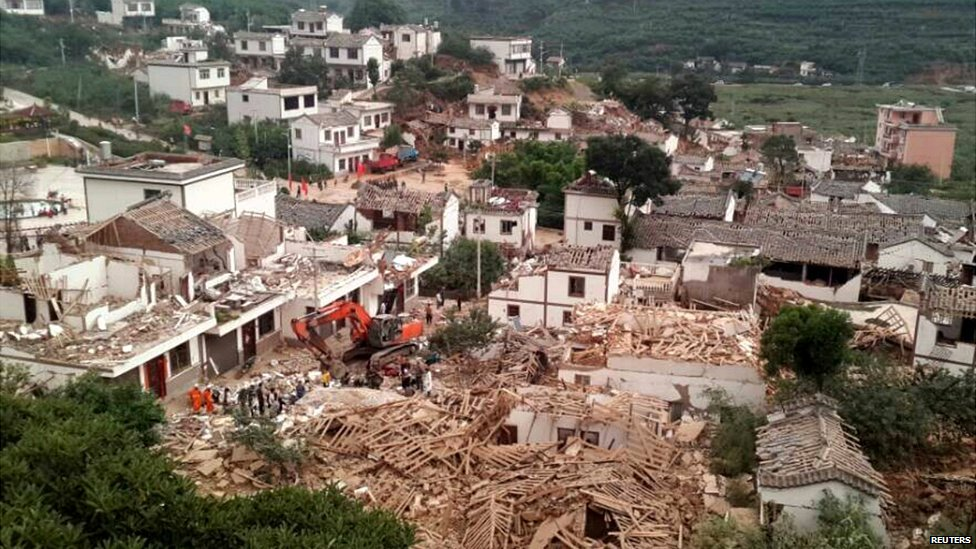 An aerial view of collapsed houses after the earthquake in Yunnan province - 3 August 2014