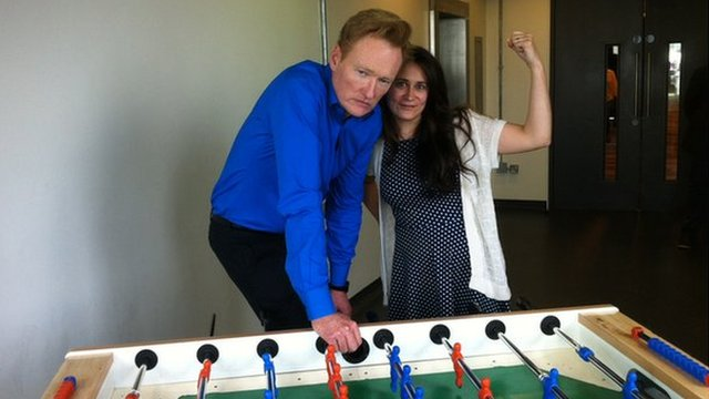 Conan O'Brien and Genevieve Hassan