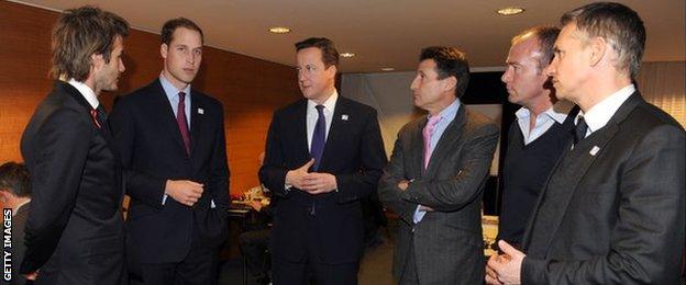 England World Cup bid ambassadors David Beckham, the Duke of Cambridge, David Cameron, Lord Coe, Alan Shearer and Gary Lineker