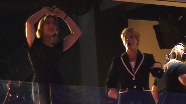 Katherine Grainger and Clare Balding dance to Kylie Minogue