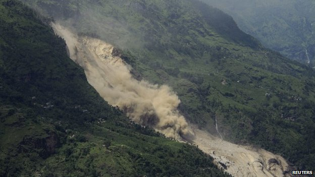 A landslide is seen in Sindhupalchowk district of Nepal August 2, 2014.