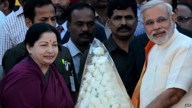 File photo of Jayalalitha (left) with Modi (right)