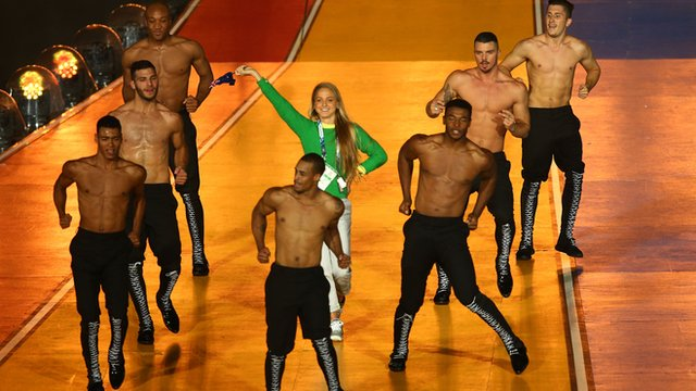 Australian athlete Genevieve LaCaze dances on stage at the 2014 Commonwealth Games in Glasgow