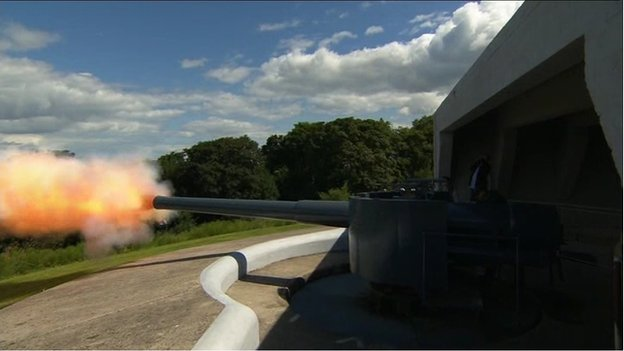A single cannon shot was fired from Grey Point Fort in County Down