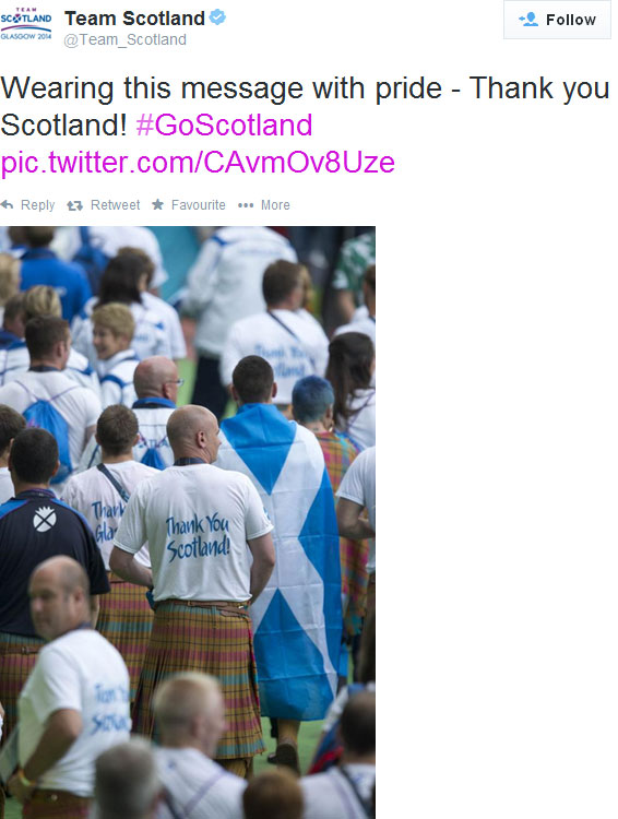 Team Scotland tweet